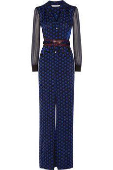 Diane von Furstenberg Cathy printed stretch-silk jumpsuit   NET-A-PORTER