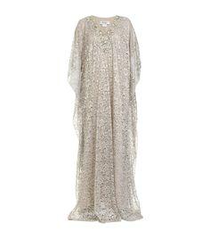 BADGLEY MISCHKA Silver lace #kaftan gown