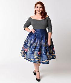 Lindy Bop Plus Size 1950s Navy Blue & New York Print Martine Swing Skirt