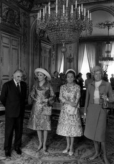 Empress Farah Pahlavi of Iran during a state visit to France, 1971, Her majesty's mother HIH Farideh Qotbi standing next to her in this photo.