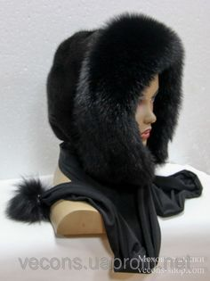 hood/scarf with natural fur trim Beret Outfit, Scarf Hat, Quirky Fashion, Fur Fashion, Jeweled Shoes, Clothes Crafts, Sewing Accessories, Fur Collars, Fur Trim