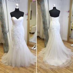 Pronovias 'Lisa'. Available in size 12. RRP £1495, now just £795! Call 01525 305 008 or email enquiries@lucyhartbridal.com.