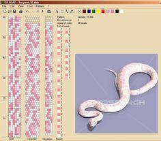 Snake pattern - 6 around Bead crochet rope Bead Crochet Patterns, Bead Crochet Rope, Seed Bead Patterns, Beading Patterns, Beaded Crochet, Crochet Motifs, Crochet Beaded Bracelets, Bead Loom Bracelets, Beaded Bracelet Patterns