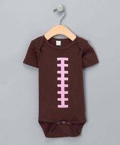 Brown & Pink Football Onesie for Baby Girl.