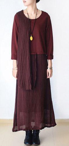 428aa781e820 Chic linen dresses 18th Century o neck asymmetric Life burgundy Kaftan Dress  #casualdressessize18 Spring Dresses