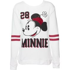 Sidecca Disney's Vintage Minnie Mouse Varsity Football Pullover... ($32) ❤ liked on Polyvore featuring tops, hoodies, sweatshirts, vintage tops, disney tops, sweater pullover, disney sweatshirt and sweatshirt pullover