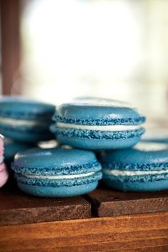 French macarons in blueberry