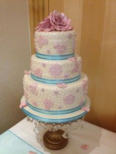 Pink Lace and dotted Swiss wedding cake ~ all edible