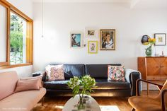 """Pink couch is nice and the right shade, artwork, table shape and color, random vintage price. This is slightly more """"busy found"""". Might be better to have a more """"clean/minimal found"""" Decor, Interior Design, Home Goods, Home, Interior, Sala, Home Decor, Salas Living Room, Room"""