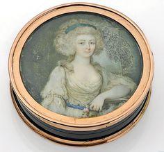 Puderdose, um 1750, vermutlich Maria Anna Franziska Kolowrat-Krakowski, Gräfin Brühl, Pförten,  Miniaturportrait, angeboten bei Dr. Crott Auktionen, 89. Auktion, 10 Mai 2014