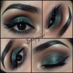 GREEN 1.Base: Painterly paintpot.  2. Browbone: Light beige eyeshadow from @Coastal Scents 88 ultra shimmer eyeshadow palette 3. Upper Crease: Taupe from Lorac Pro 4. Crease: Sable from Lorac Pro 5. Eyelid Base: @Melea Gibbs Flamed Out Shadow Pencil in
