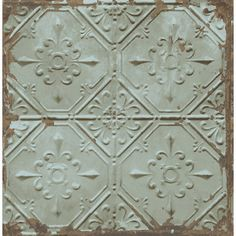 Tin Ceiling Teal Distressed Tiles Brewster Wallpaper Wallpaper Brewster Bronze Greens Teal Metallic Wallpaper Millennials Wallpaper Modern Classics Wallpaper Tile Wallpaper , Easy to clean , Easy to wash, Easy to strip