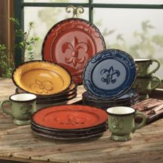 fleur de lis multi-colored dining set