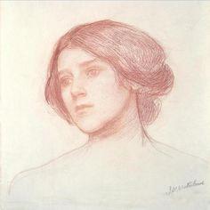 John William Waterhouse    Head of a girl    Red chalk on paper    Pre Raphaelite