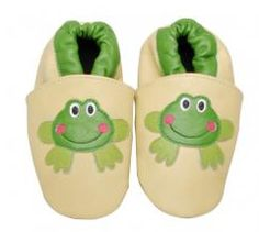 Happy Frog leather shoes - soft suede soles are good for baby's feet and machine washable! $27 @ www.mybabypeanut.com