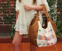 Tan and Beige Huipil tote gorgeous hand embroidered one of a