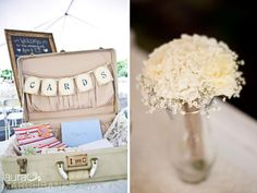 Cards in vintage suitcase, white flowers by Victoria Graceson Floral, Seattle Wedding Photographer, Laura Marchbanks Photography photographs a country wedding in Marysville at Leifer Manor