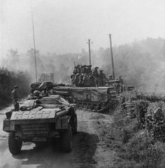 6th Guards Tank Brigade carrying infantry during the advance across the Orne, Normandy/August 1944.