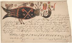 Item No: frk00317    Title:  In this fish's name (In dieses Fisches Namen)    Category:  Wonderfish (Wunderfisch)    Creators:   Decorator: Anonymous   Scrivener: Anonymous    Creation Place:   State/Province: [Pennsylvania]   Note: Based on design characteristics    Creation Date: ca. 1820 - ca. 1840