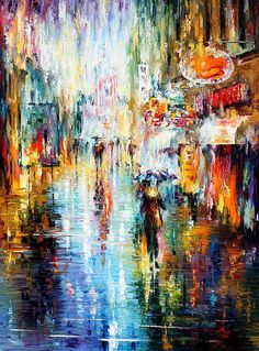 0789  Heavy Downpour - Palette Knife Oil Painting On Canvas By Leonid Afremov Print by Leonid Afremov