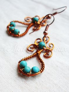 Copper wire and turqoise earrings | Flickr - Photo Sharing!