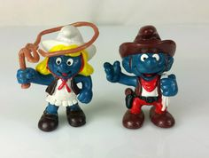 Vintage Smurfs Smurfette Cowgirl Cowboy Figure Lot Schleich Peyo 1981 Hong Kong by SwankyDameVintage