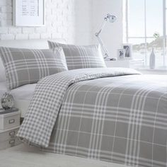 Debenhams Grey 'Hugo Check' bedding set- at Debenhams.com