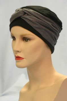 The Anna hat with a Black and Stripe Wrap