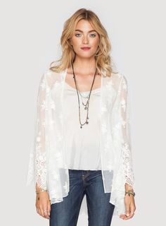 The 4 Love & Liberty Sabra Jacket is a perfect boho chic jacket for the season. Wear this piece on top of your favorite dress for a simply chic outfit. -Embroidered Mesh -True t Sexy Casual Outfits, Girly Outfits, Chic Outfits, Fashion Outfits, Johnny Was Clothing, Hippie Look, Embroidered Jacket, Silk Chiffon, White Lace