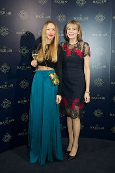 Liza Urla and Carol Woolton at the #BuccellatiOpera event at Spencer House, London, Britain on 21 Oct 2015.