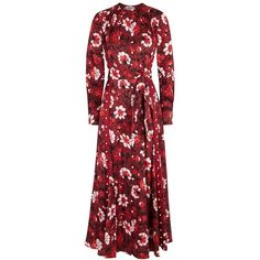 Altuzarra Melia Floral-print Silk Jacquard Dress - Size 12 (£2,250) ❤ liked on Polyvore featuring dresses, floral dresses, skater skirt, floral applique dress, red floral dress and red circle skirt