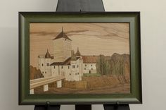 Marquetry Inlaid Picture of Castle in Austria