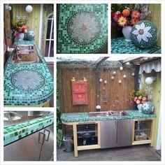 Gartenspüle Mosaik