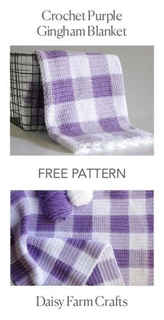 Crochet Granny Squares Blanket FREE PATTERN - Crochet Purple Gingham Blanket - I'm beyond thrilled to share this purple gingham crochet blanket pattern with you! I've also made this blanket in pink and black if you'd like to see Crochet Crafts, Crochet Projects, Free Crochet, Afghan Crochet Patterns, Crochet Stitches, Crochet Afghans, Baby Afghans, Crochet Granny, Double Crochet