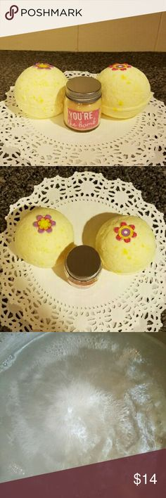You're The Bomb Creme Brulee Fizzies/Candle Set I have an awesome bundled bath set of You're The Bomb Creme Brulee (2) 7oz bath fizzies and a 2oz Creme Brulee candle. My bath fizzies are super fizzy, wonderfully scented and enriched with vitamin E. Candle is highly scented and will definitely set the mood for your relaxing bath. Turn off the lights and get ready for the most fantastic bath of your life. Satisfaction guaranteed or your money back!! Lush Other