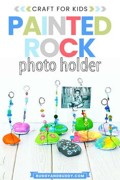 Paint some rocks and turn them into photograph (photo) holders or even to display artwork. This craft makes a very special homemade DIY gift for birthdays, Mother's Day, Father's Day, or any holiday. #DIY #rockpainting #fathersday #mothersday #DIYgift