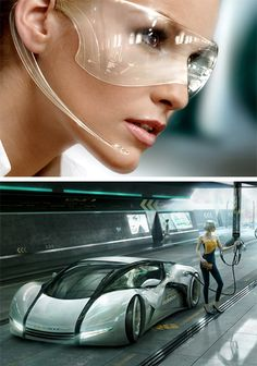 The Futuristic Info Goggles by blutsbrueder-design. It looks amazing and cool!. It's from a spread of images they created called Future Girls. Designed by Franz Steiner. I also love his car concept in the future, looks cool!
