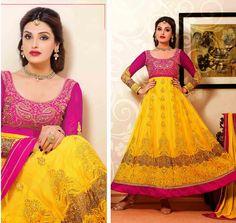 Yellow Net Long Anarkali Suit 44421