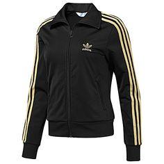 adidas originals Women's Firebird Track Jacket in Black with Metallic Gold