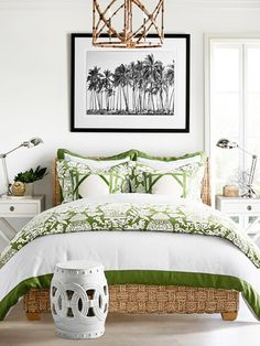 Coastal bedroom style with Pantone greenery accents on Thou Swell