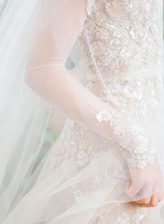Inspiration Robe du Mariage : Description Stunning sheer beaded wedding dress: www. French Wedding, Timeless Wedding, Parisian Wedding, Bridal Looks, Bridal Style, Wedding Dress Trends, Wedding Dresses, Wedding Veil, Wedding Bouquets