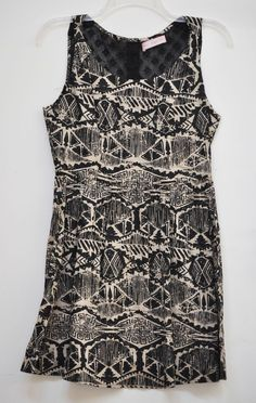 Band of Gypsies Junior Shift Mini Dress Lace Button Casual Black & Cream size S #BandOfGypsies #Shift #Casual
