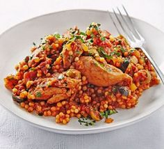 Lemony chicken stew with giant couscous http://www.bbcgoodfood.com/recipes/lemony-chicken-stew-giant-couscous