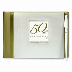 50th Wedding Anniversary Guest Book with Pen
