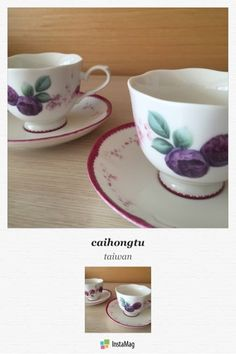 porcelarts ポーセラーツ 瓷器彩繪 cup & saucer rose