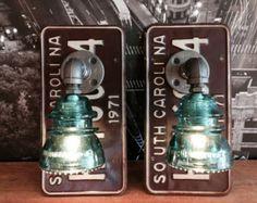 Steampunk South Carolina License Plate Hemingray Insulator Pipe Lamp Sconces