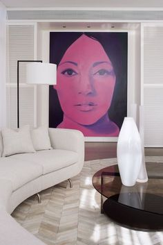 Residence on the Esplanade | Munge Leung | modern portrait fine art painting | oversized artwork in contemporary living room | tall white abstract sculpture on coffee table | modern residential interior design ideas | home decor ideas | luxury home