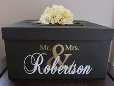 "Black and Gold Wedding Card Box 14"", Black Wedding Card Holder, Black Gift Card Holder with Mr. and Mrs. Custom Name"
