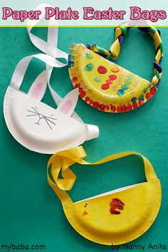 Make Easter bags out of Paper Plates. Easter craft for children.