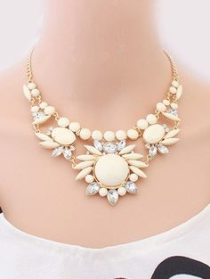 Beige Womens Sweet Flowers Candy Color Chic Design Pendant Necklace